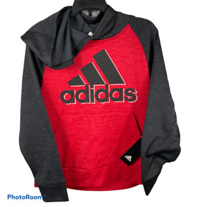 Adidas Youth Hoodies Poly Tech Fleece Red or Gray with Heather Black NEW