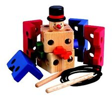 Preschool Kids Childrens Clown Threading Block Educational Wooden Toy Puzzle