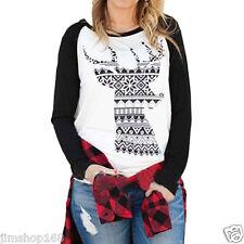 Women Christmas Elk Long Sleeve Blouse Shirt Casual Loose Sweatshirt T-Shirt Top