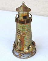 "9"" Lighthouse Music Box Metal Brass look Vintage Decor nautical Beach Cottage"