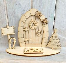 Christmas Elf Fairy Door Stand Wooden Craft Kit Blank Stand CS Merry Christmas