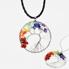 Tree Of Life Pendant Necklace Copper Crystal Natural Stone Necklac YJ