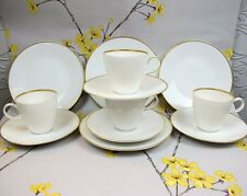 "Modern Rosenthal ""Classic Gold"" Trim COFFEE / TEA SET. 4 cups 4 saucers 4 plates"