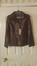 Mark New York By Andrew Marc, Anthracite Leather Jacket, Geometric, Sz S - New