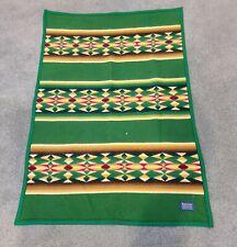 Beaver State Pendleton Green Native American Pattern Wool Lap Throw Blanket