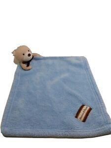 Blanket and Beyond Blue Brown Teddy Bear Plush Lovely Baby Blanket