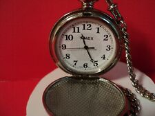 TIMEX W full hunter pocket watch new battery installed/w chain white face/silver