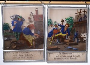 Pair of Antique Dutch Stained Glass Reverse Painting Masons n Carpenters