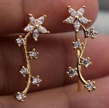 18K Yellow Gold  Filled RHINESTONE  FLOWER  U-Design  CLIMBER  CUFF  Earrings