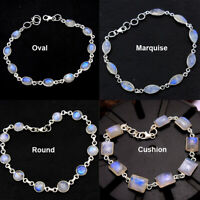Natural Moonstone Gemstone 925 Sterling Silver Jewelry Statement Solid Bracelet