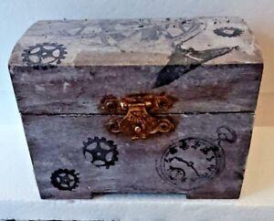 """STEAMPUNK STORAGE WOODEN BOX GEARS DESIGN H 3"""" L 4"""" W 3"""""""