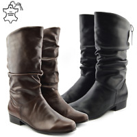 Womens Knee High Ladies Combat Low Heel Boots Soft Leather Winter Long Shoes RS