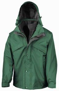 RS68Result 3-in-1 Waterproof Zip and Clip Fleece Lined Jacket Bottle Green/Black