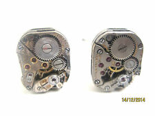 """Antique watch part cufflinks-real rubies-handmade in the USA!-""""It's about time"""""""