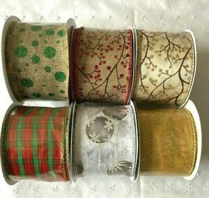 1m Christmas Ribbons 63mm, Wire Edged, CAKE/WREATHS/EVENTS Various Designs