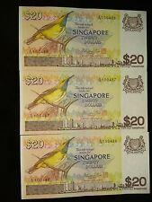 3 Singapore Bird $20 note (running number)
