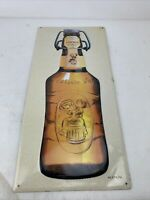 "FISCHER BEER FRENCH TIN METAL ADVERTISING SIGN 20""x9.5"" SPIRITS PUB CLUB DECOR"
