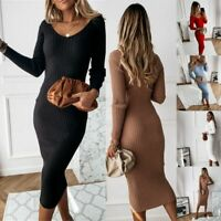 Womens Knitted Long Sleeve Jumper Dress Ladies Winter Bodycon Sweater Midi Dress
