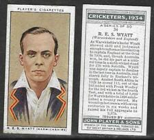 PLAYER'S 1934 CRICKETERS R.E.S.WYATT Card No 34 of 50 CRICKET CIGARETTE CARD