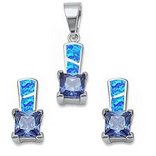 Blue Opal & Tanzanite .925 Sterling Silver Earring & Pendant
