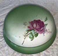 """Sevres Porcelain 7"""" Diameter  (Flawed)  Pink Rose's Vintage Antique Covered Bowl"""
