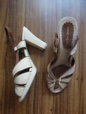 "NINE WEST size 6/8W 4"" beige/brown platform/block strappy sandles shoes-Cost £50"