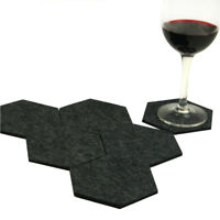 6pcs Felt Fabric Hexagon Cup Mat Drink Coasters Beer Coffee Placemat Table Decor