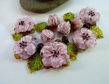HANDMADE ARTISAN  Lampwork Glass Bead Set Pink Flowers  & Leaves & Buds