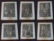 SZENEN EINER EHE KOMPLETTE FOLGE 6 ORIG. KUPFERSTICH GERAHMT HOGARTH 1745 #B461S