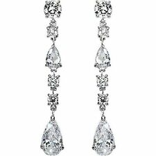 3 carat Pear & Round Diamond Chandelier Hanging Earrings F-G SI1, 18k White Gold