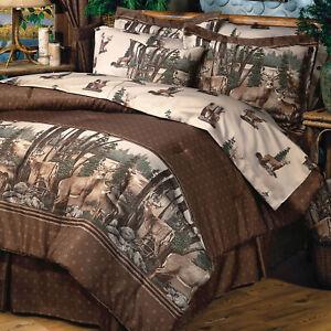 Blue Ridge Trading Whitetail Dreams Queen 8pc Comforter Set w/sheets Green Grays