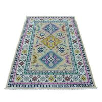 """4'1""""x6'1"""" Colorful Beige Fusion Kazak Pure Wool HandKnotted Oriental Rug G54153"""