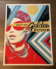 Shepard Fairey Obey Giant GOLDEN FUTURE Signed Numbered Screen Print RARE