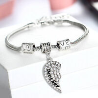Family Mother Mom Son Daughter Family Bangle Bracelet Charm Women Jewelry Heart