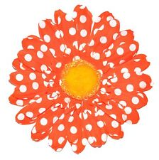 "4.5"" Bright Orange & White Polka Dot Gerbera Daisy Silk Flower Hair Clip"