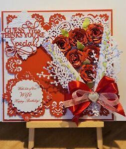 Large Luxury Handmade Personalised Birthday Card Mum/Girls/Nans with bespoke box