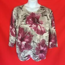 Womens Blouse Top 1X 18W 2X 20W 22W Silver Pink Floral Stretch Shiny Casual 2M72