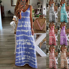 Women's Plus Size Tie Dye Long Maxi Dress Summer Strappy Holiday Beach Sundress