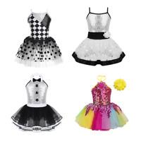 Girls Modern Jazz Ballet Dance Costume Kids Sparkly Leotard Tutu Dress Dancewear