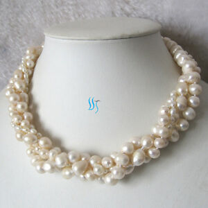 """18"""" 4-10mm 4Row White Freshwater Pearl Necklace Magnetic Clasp UK"""
