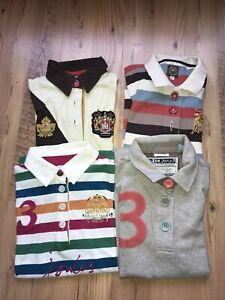 Joules Bundle Size 12 women's 4 vintage style polo shirts multi tops logo crest