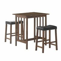 Contemporary Style 3 Piece Counter Height Set, Brown