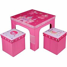 Childrens Kids Folding Princess Table and 2 Chairs Stool Set Foldable Furniture