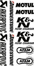 x 10 puntale adesivi Sponsor logo Akrapovic Bridgestone Motul Afam Nera 07