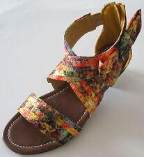 Women's Animal Print Flat Shoes Gladiator Leopard Zebra Strap Sandal w/Ribbon