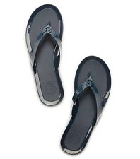 New Tory Burch Logo Jelly Thong Sandals Navy Blue Size 10