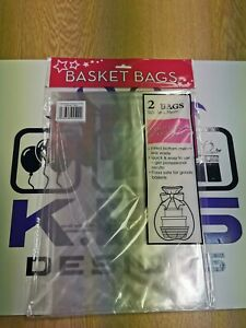 2 x LARGE Cellophane Hamper Gift Bags -Clear Cello Basket Wrap-Inc Instructions