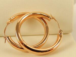 """14k ROSE Gold Round Tube HOOP EARRINGS 1"""" PLAIN JCM Signed"""