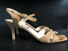 Gina London Women's Suede Camel beige tan Strappy Sandals High Heels Size 9