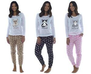 Ladies Novelty Cat Design Pyjama Set with Paw Print Fleece Bottoms ~ Sad cat